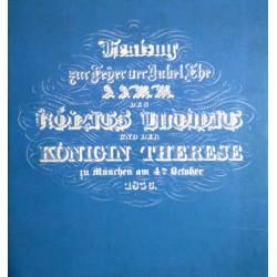 Festzug zur Feier der Jubelehe des Königs Ludwig und der Königin Therese zu München. Von Elfi M. Haller (1983).
